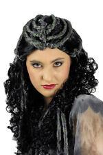 Voodoo Parrucca Dia de los muertos HALLOWEEN PER COSTUME DONNA NERO magia