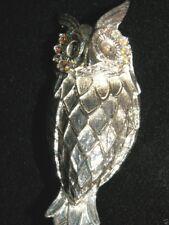 "Hootie Hoot Owl Bird Pin Brooch Silvertone 2 1/2"" Aurora Borealis Rhinestone Eye"