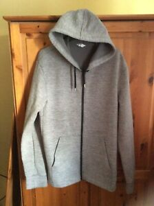 NEXT  MENS GREY ZIP UP HOODIE WITH POCKETS. SIZE LARGE.VGC