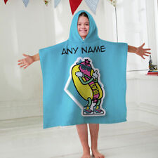 Kids Personalised Hooded Towel Poncho Retro Hotdog Childrens Bathrobe Swim