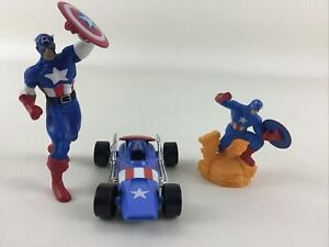 Captain America Marvel Avengers 3pc Lot Action Figures Car Vehicle Shield Hero