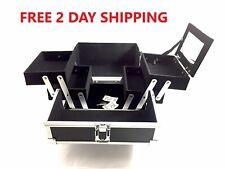 "Aluminum Makeup Organizer Bag  Lock Keys Mirror Black 4 tray 8""x8""x6"" 2-Day Ship"