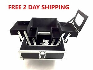 "Aluminum Makeup Organizer Bag  Lock Keys Mirror Black 4 tray 8""x8""x6"" 2-Day Ship"