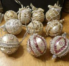 Lot 10 Handmade Bead Sequin Crochet Ornaments - Silver & Gold