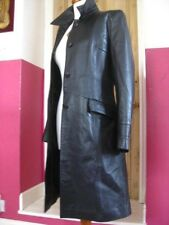 RRP£140 Ladies NEXT black real leather COAT military trench size UK 14 goth indy