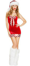 Sexy Mrs Claus Red Striped Candy Cane Outfit Santa Hat Leg Muffs Dress Set 7267