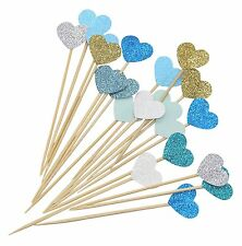 Vincenza Cake Decorating Pack Of 10 Hearts Party Supplies Cupcake Picks Blue uk