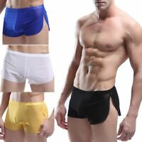 Mens Sexy Sheer See Through Boxer Briefs Underwear Mesh Shorts Trunks Underpants