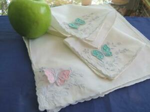 "6 Vintage Madeira Linen 8"" Tea Cocktail Napkins Embroidered Hovering Butterflies"