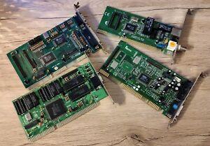 Set of 4 ISA Cards - ESS ES1868F / RTL8019AS / Trident TVGA8900CL-C / PT-606G