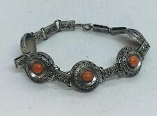 Antique Victorian Sterling Silver Filigree & Coral Bracelet