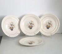 4 Salem China Co Bird of Paradise 10 Inch Dinner Plates 23 Karat Gold Trim