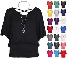 Womens New Short Batwing Sleeve Ladies Stretch Cross Back Necklace T-Shirt Top