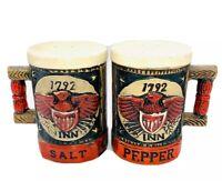 """Vintage Napcoware Ceramic 1792 Inn Salt Pepper Shaker Set C7161 Stein Mug 3.5""""H"""