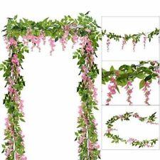 4PcsPink Simulation Wisteria Flower Vine Leaf Vine for Wedding Flower Decoration
