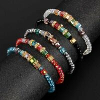 1X Square Beaded Friendship Bracelet Crystal Fashion Elastic Bangle Jewelry Gift