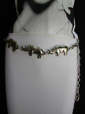 New Women Belt Fashion Waist Hip Silver Chains Metal Rhino Size XS S M L 25