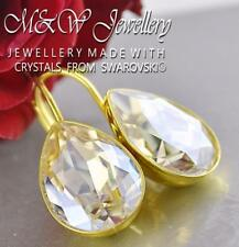 Gold Plated Silver Earrings Crystals From Swarovski® Pear Fancy Stone Moonlight