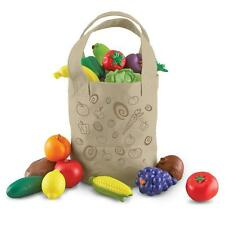 Kids Food Play Set Vegetables Fruit Tote Pretend Boys Girls Toddler Healthy New
