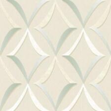 Wallpaper Designer Aqua Cream Tan White Trellis on Beige Faux