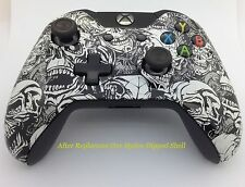 Xbox One Original WHITE ZOMBIE Hydro Dipped Controller Shell Mod - Front Shell