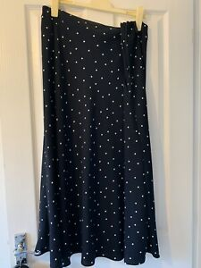 Marks and Spencer Navy Polka Dot ALine skirt