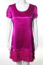 Shu Lami Hot Pink Silk Short Sleeve V-Neck Ruffled Tiered Bottom Dress Size Medi