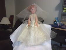 "Vintage 1950s Vinyl Red Haired Bride Doll~19"" Tall~Very Good Condition!!"