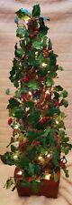 "Handmade Vintage 31"" Christmas Topiary Holly Lighted Wood Base"
