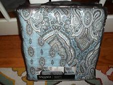 NIP Tahari Home Blue/Gray/White Paisley Twin Quilt Set 3pc