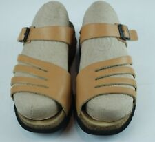 Mephisto Womens Sandals Beige Leather Side Buckle Slides Slip On Size 39 US 9