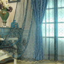 Long Lace Embroidery Floral Curtain Panel Net Tulle Window Drape Sheer Scarfs