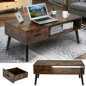 Modern Coffee Tea Table TV Stands Drawer Shelf Storage Living Room Furniture NEW