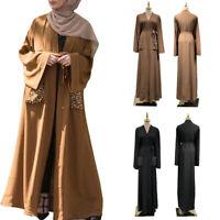 Muslim Women Maxi Dress Open Abaya Dubai Kaftan Kimono Jilbab Islamic Robe Gown