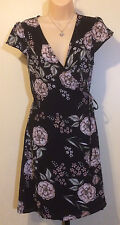 Spirit of Grace Black Mauve Pink Floral Nordstrom Wrap Dress Small Size 2