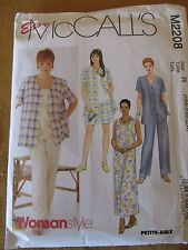 Easy McCall's M2208 Women's Shirt Dress Top Pull-on Pants Shorts Sizes 18W-22W