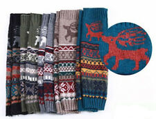 Women Lot Winter Knit Knee High Leg Warmers Boot Cover Xmas Reindeer Long Socks