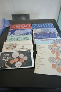Lot of Uncirculated Coin Sets 1992,1989,1988,1994,1997,1998, all S Mint,  2000 D