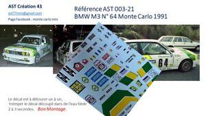 NEW 1 43 DECAL BMW M3 N 64 PILOTE CHABOSEAU RALLY WRC MONTE CARLO 1991