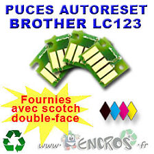 RECHARGEABLE Lot de 4 Puces Auto-Reset BROTHER COULEURS+NOIR LC123