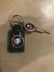 Vintage Original BUICK Black Leather Key Fob Car Auto Keychain With Logo Key