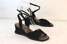ARCHE Black Leather Sandals / Wedge Heels Women's 40 / 9