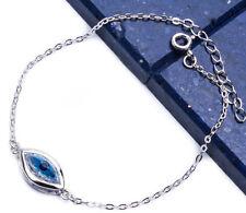 "Blue Evil Eye .925 Sterling Silver Bracelet 6-7"""