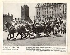 1914 PRINT WWI ~ KING GEORGE QUEEN MARY ROYAL VISIT TO GLASGOW OPEN TOP CARRIAGE