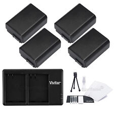 4x NP-FW50 Replacement Battery & USB Dual Charger for Sony NEXF3 NEX6 NEX5R NEX3