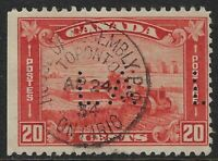 Perfin L1-LA (Legislative Assembly), Scott 175, 20c Harvesting Leaf Arch, Pos. 1