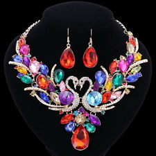 Swan Colorful Crystal Jewelry Set For Brides Necklace Earring Wedding Prom Sets