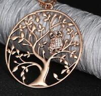 Lange Halskette collier Eule Baum des Lebens Edelstahl großer Anhänger Rose Owl