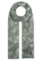 Finecy In - Fashion Faded Feather Print Silk Scarf Wrap Chiffon Large Soft Light