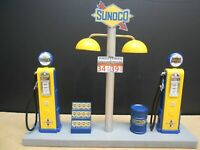 """ SUNOCO "" GAS PUMP ISLAND DISPLAY W/ GAS PRICE SIGN, 1:18TH, HAND CRAFTED,  NEW"
